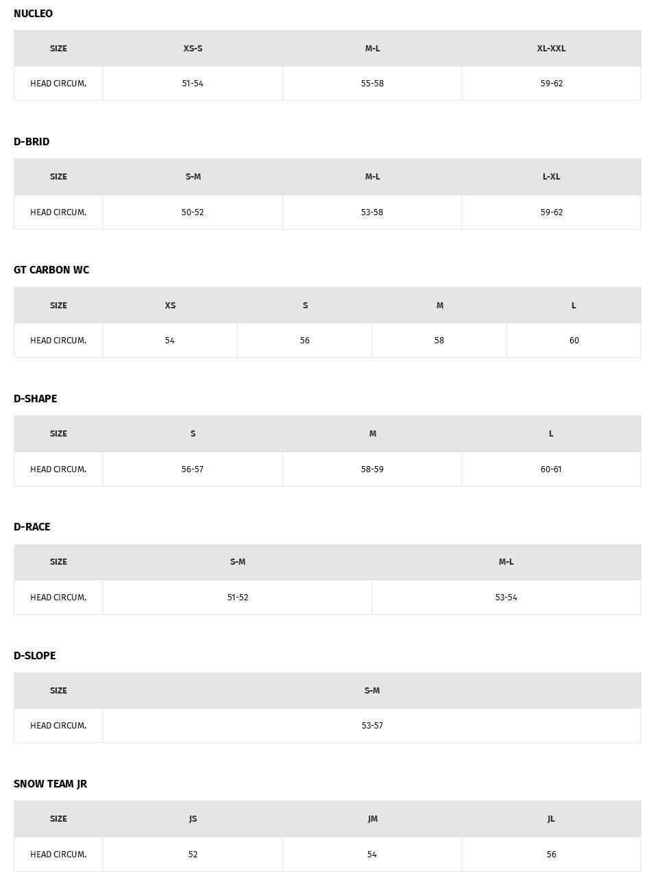 Lyžařské helmy Dainese - tabulka velikostí